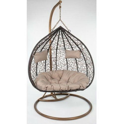 Fotel wiszący ogrodowy 2 osobowy brązowy poduszki beżowe marki Meblemwm