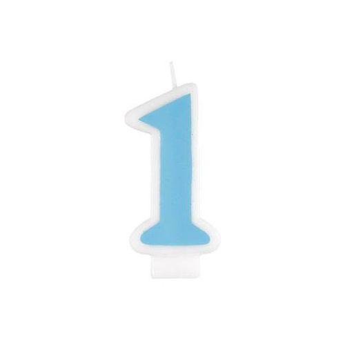 Świeczka cyferka jedynka 1 niebieska - 1 szt.