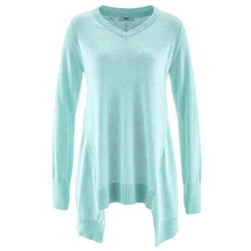 Sweter z dłuższymi bokami, długi rękaw pastelowy miętowy melanż marki Bonprix