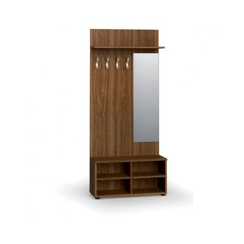 Garderoba z półką na buty i lustrem, 4 haczyki, półka, orzech marki B2b partner