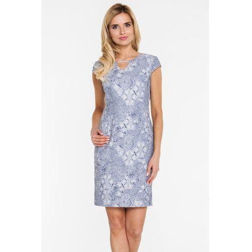 Srebrzysta sukienka z żakardowej tkaniny - Potis & Verso