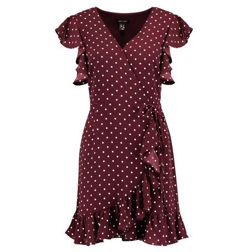 New Look POLKA DOT RUFFLE SLEEVE WRAP Sukienka letnia red (5045535388907)