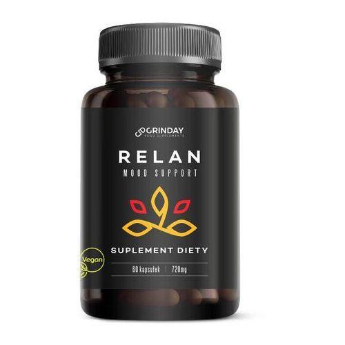 Grinday Relan to naturalny suplement diety niwelujący skutki depresji, złego samopoczucia oraz stresu. działa uspokajająco na organizm oraz pozytywnie wpływa na nastrój.