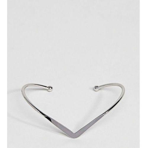 ASOS CURVE Exclusive V Shape Cuff Bracelet - Silver, kolor szary