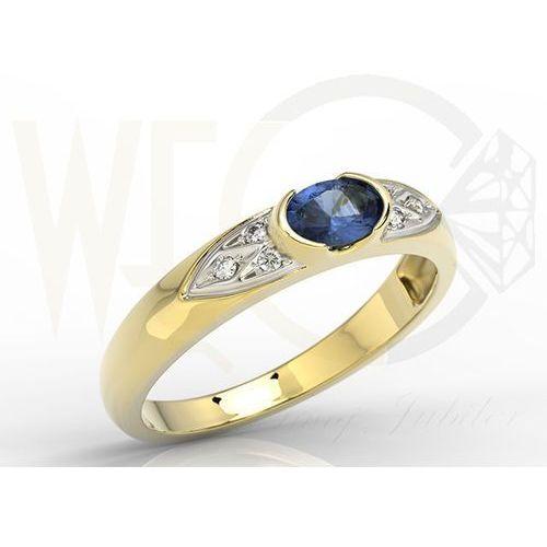 Pierścionek z żółtego złota z szafirem i diamentami 0,06 ct model ap-80z marki Węc - twój jubiler