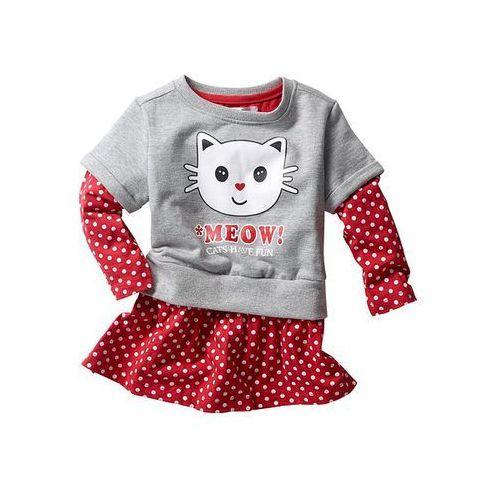 Sukienka z bluzą z krótkim rękawem bonprix czerwony w groszki - jasnoszary melanż (sukienka dziecięca)