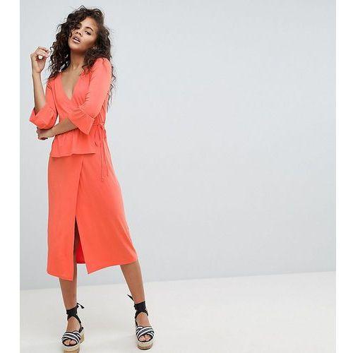 Asos design tall midi wrap dress - pink, Asos tall