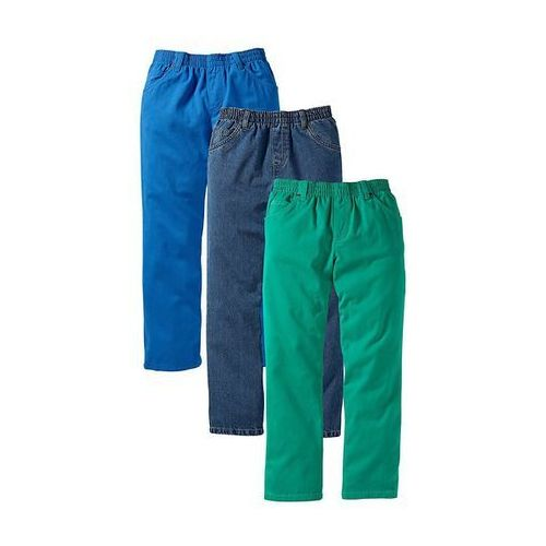 Dżinsy (3 pary w opak.) bonprix lazurowy + zielona papryka + niebieski stone XXL - produkt dostępny w bonprix