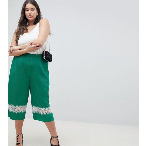 Asos curve Asos design curve pleated plisse culotte trousers with lace insert - green