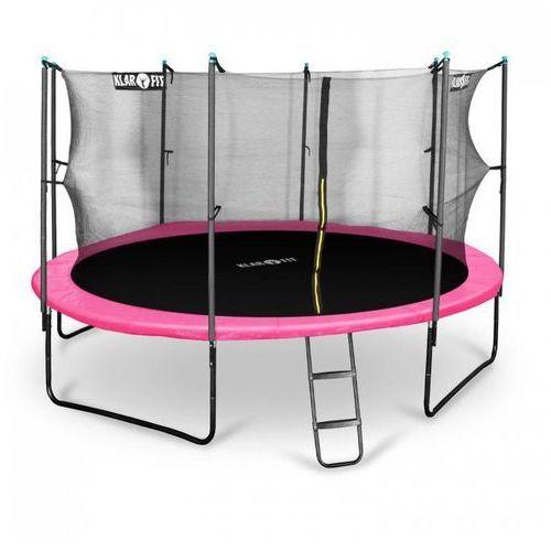 Klarfit rocketgirl 430 trampolina 430cm siatka bezpieczeństwa wewnątrz, szeroka drabinka, różowa