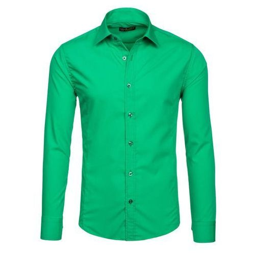 Koszula męska  1703-2 zielona - ZIELONY, koszula męska BOLF