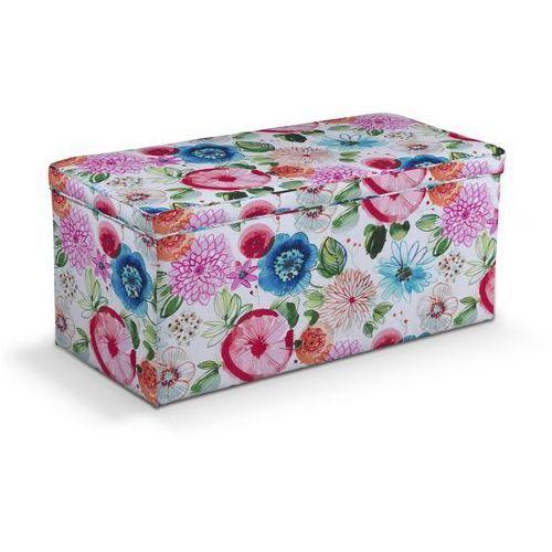Dekoria Skrzynia tapicerowana, kolorowe kwiaty na białym tle, 120x40x40 cm, New Art