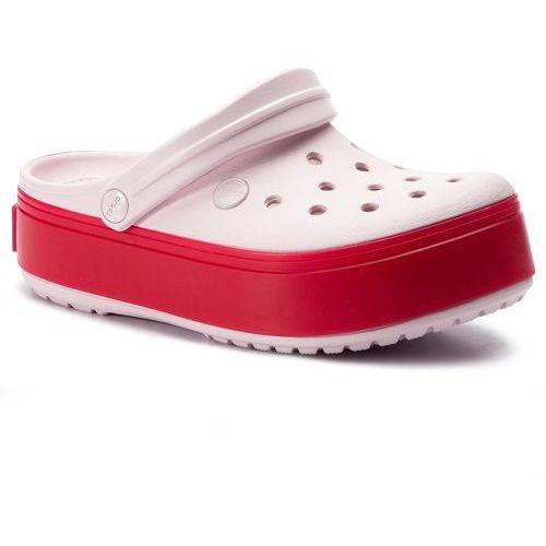 Crocs Klapki - crocband platform clog 205434 barley pink/pepper