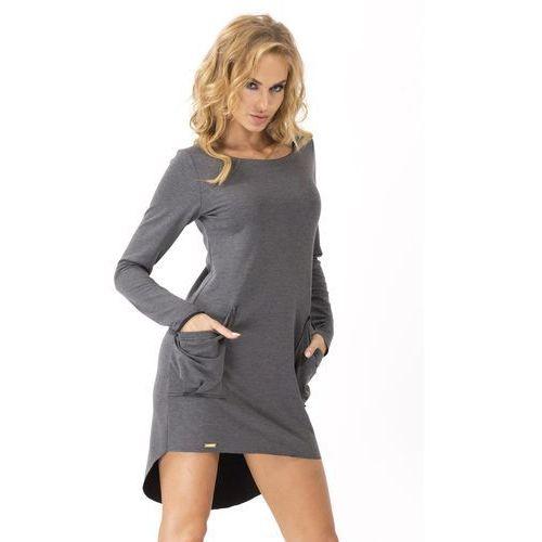 Grafitowa Dresowa Asymetryczna Sukienka z dużymi kieszeniami, asymetryczna