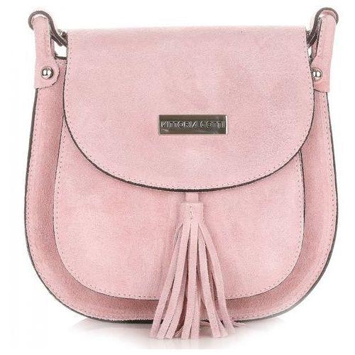 8210a80904a90 Torebki skórzane z wysokiej jakości zamszu naturalnego firmy różowa  (kolory) marki Vittoria gotti 139