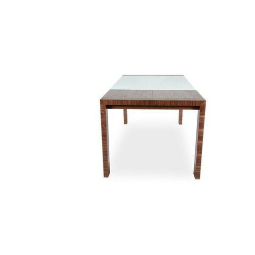 Stół Milan rozkładany 130/170 II GAT białe szkło, podstawa orzech - produkt dostępny w MEBLOTEKA
