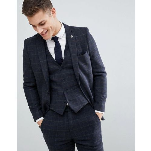 brushed flannel slim fit tobacco check suit jacket - blue marki French connection