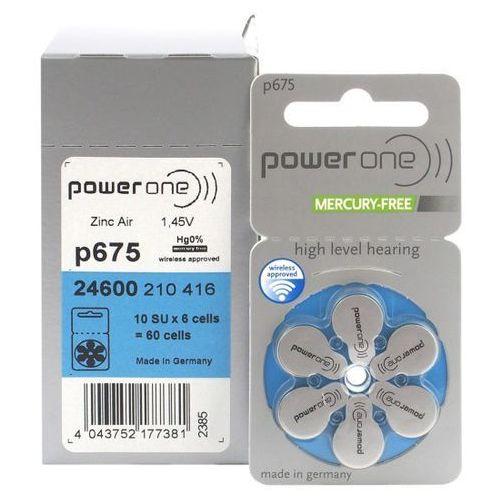 60 x baterie do aparatów słuchowych Power One Varta 675 MF, p675