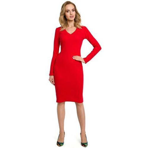 e5fe3090857f55 Moe Czerwona dopasowana sukienka z prążkowanej dzianiny z dekoltem v 134,90  zł Material: bawelna 90% elastan 5%.Dostepne rozmiary: S-M, L-XL, ...
