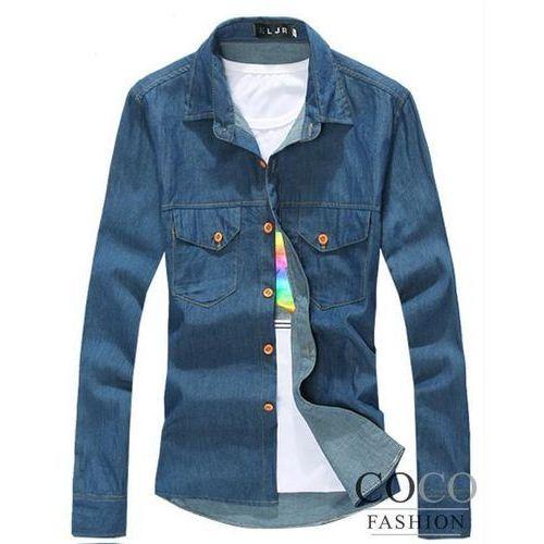 Klasyczna Jeansowa Koszula z Kontrastowymi Przeszyciami i Guzikami do Wyboru w 2 Kolorach - sprawdź w Coco Fashion