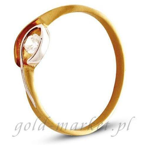 z żółtego złota ze wstawkami białego złota (AGP02G), marki Pierścionek do zakupu w www.e-zegarki.pl