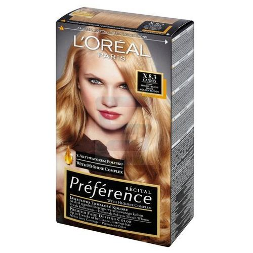 paris recital preference farba do włosów cannes jasny złocisty blond nr x 8.3, marki Loreal