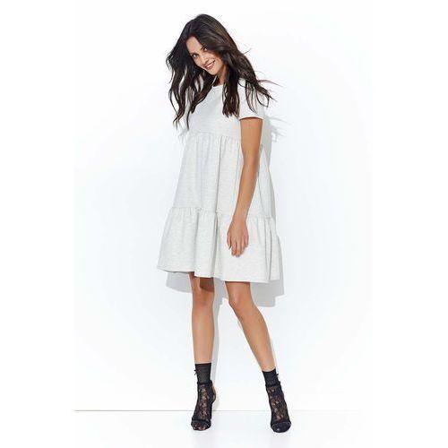 Beżowa Luźna Dresowa Sukienka z Falbankami, 1 rozmiar
