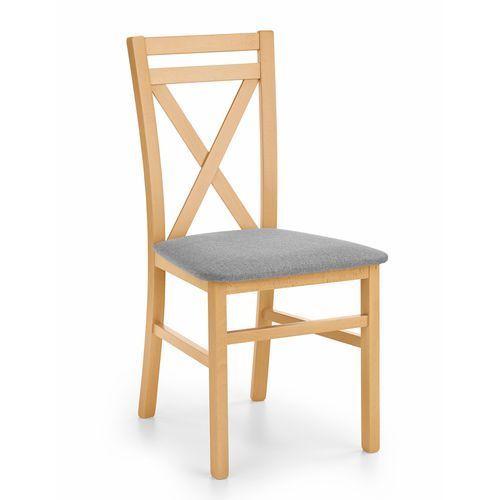 Drewniane krzesło z tapicerowanym siedziskiem dariusz dąb miodowy marki Halmar