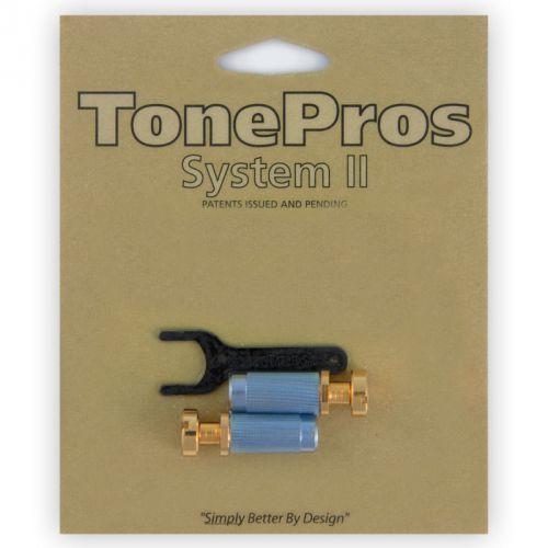 Tonepros vgm1-g - g-style locking studs, części mostka do gitary, złote