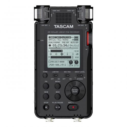 dr-100 mkiii profesjonalny, przenośny system reporterski, zapis na kartach pamięci sd marki Tascam