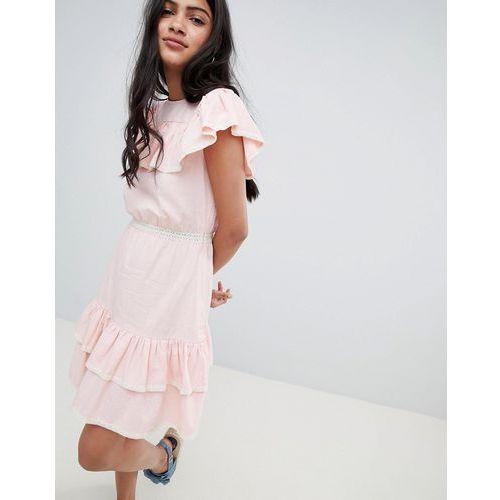 Glamorous Mini Dress With Ruffle Layers And Lace Trim - Pink