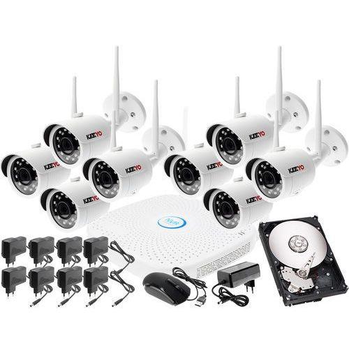 Keeyo Monitoringu bezprzewodowy zestaw kamery zewnętrzne ip hd wifi ip + rejestrator sieciowy 8 kanałowy ip + dysk 1tb + akcesoria