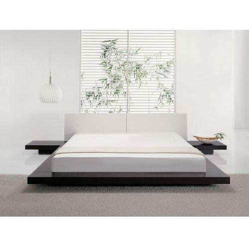Łóżko ciemnobrązowe - 180x200 cm - łóżko drewniane - styl japoński - zen marki Beliani