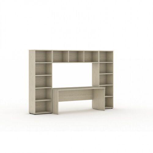 Biblioteka z wbudowanym biurkiem, 2950x700/400x1923 mm, dąb naturalny