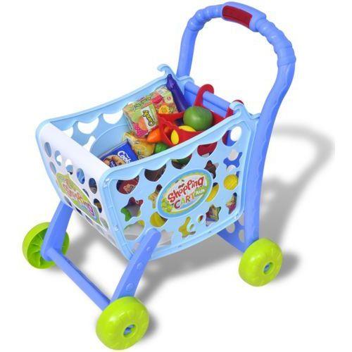 Vidaxl  zabawkowy wózek na zakupy 3 w 1, niebieski (8718475954330)