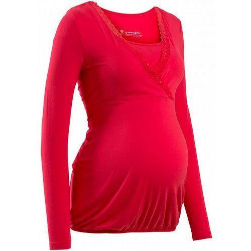 Shirt ciążowy i do karmienia, z koronkową wstawką, długi rękaw bonprix czerwony