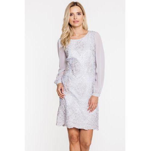 1c0955428e Wizytowa sukienka ze srebrną koronką - L ame de Femme