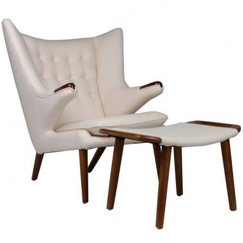 Design town Fotel z podnóżkiem niedźwiedź - inspirowany proj. papa bear chair - beżowy