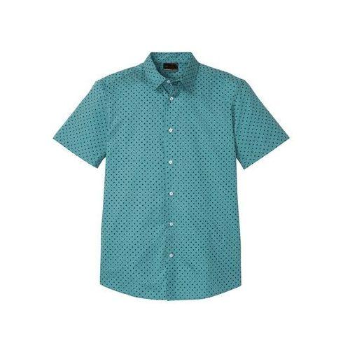 Koszula z krótkim rękawem i nadrukiem slim fit matowy kobaltowy z nadrukiem, Bonprix, M-XXXXL