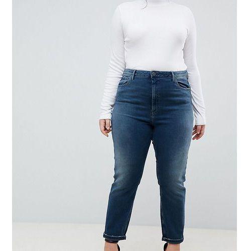 Asos design curve farleigh high waist slim mom jeans in aged blue wash - blue, Asos curve
