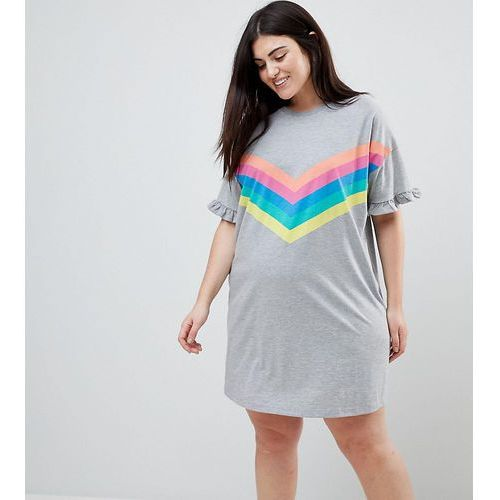 t-shirt dress with frill cuffs and rainbow stripes - grey marki Asos curve