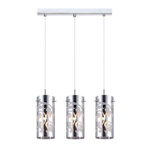 Italux Lampa wisząca laura mdm1579/3cr szklana oprawa zwis listwa sufitowa tuby z wzorkami chrom (5900644349365)