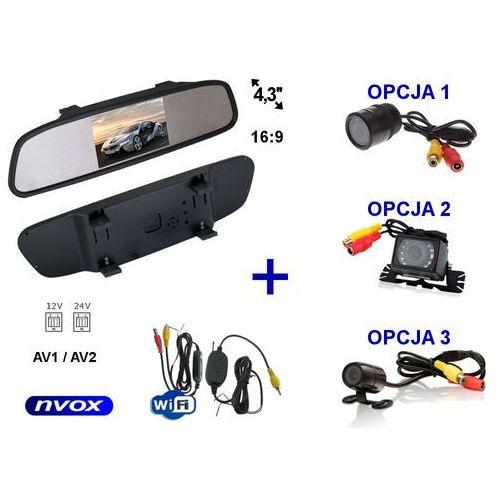 """Nvox Zestaw monitor lcd 4,3"""" w lusterku wstecznym 12v 24v samochodowa kamera cofania i bezprzewodowy moduł wifi"""