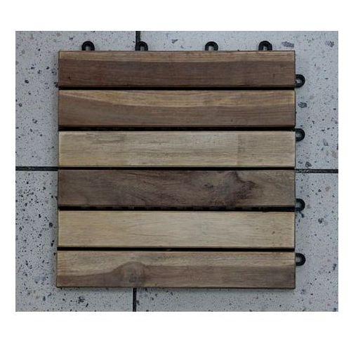 Deski tarasowe modułowe płytki 30x30cm teak surowy klepka pojedyncza (deska tarasowa)