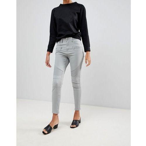 Glamorous skinny jeans with zip ankle detail - Grey, 1 rozmiar