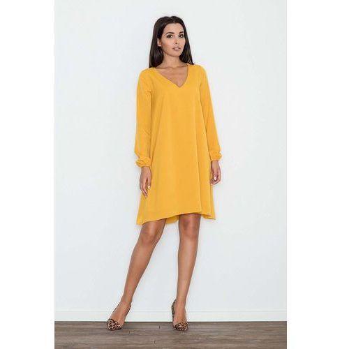 Żółta Sukienka Trapezowa z Długim Rękawem, kolor żółty