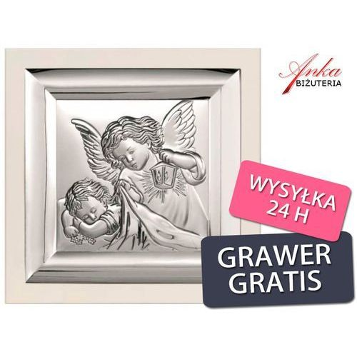 Pamiątka dla dziecka - obrazek srebrny aniołek nad dzieckiem - 19 cm* 19 cm marki Valentini