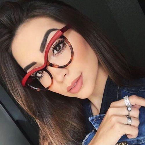 Okulary damskie kujonki zerówki czerwone - czerwone marki Iloko
