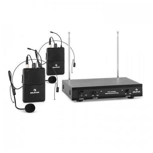 vhf-2-hs 2-kanałowy radiowy zestaw mikrofonowy vhf 2x mikrofon nagłowny zas marki Auna