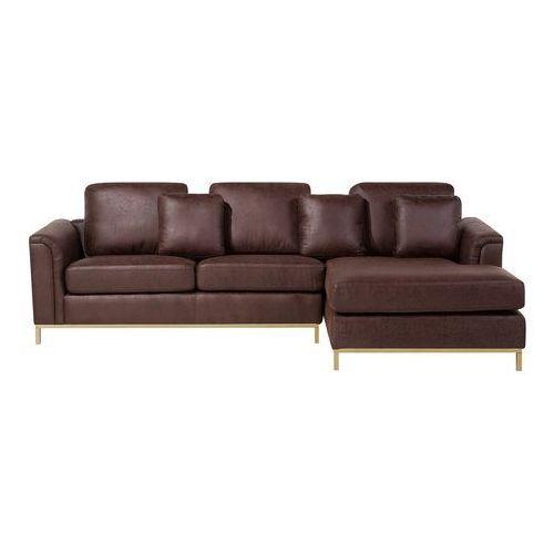 Sofa narożna tapicerowana brązowa lewa złote nóżki OSLO